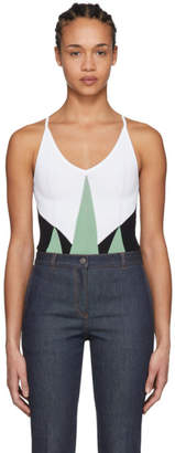 Bottega Veneta Green and White Knit Bodysuit