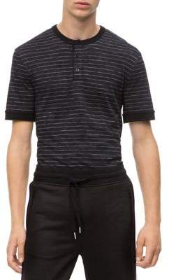 Calvin Klein Jeans Slim-Fit Striped Henley T-Shirt