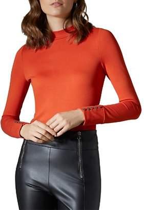Karen Millen Button-Cuff Ponte Top