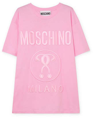 Moschino Oversized Embroidered Cotton-jersey T-shirt - Pink