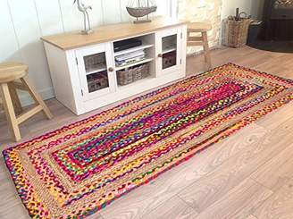 Anya Hand Woven Jute/Cotton Multi Chindi Braided Rug Runner for Kitchen, Living & Bedroom 2X5-Feet, attractive look