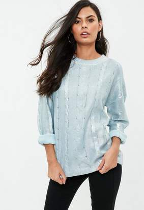 Missguided Blue Cable Sweater