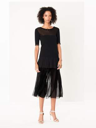 Oscar de la Renta Pleated Tiered Silk-Chiffon Skirt