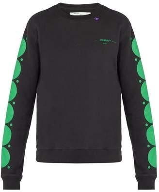 Off-White Off White Dot Print Cotton Sweatshirt - Mens - Black