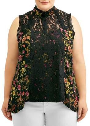 Self Esteem Women's Plus Size Printed Crochet Lace Victorian Top