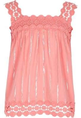 River Island Girls pink lace trim cami top