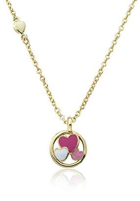 Little Miss Twin Stars Girls' I Love My Jewels 14k Gold-Plated Disc Accented with -Color Enamel Cut Out Hearts Chain Pendant Necklace