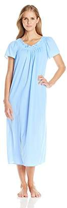 Miss Elaine Women's Tricot Long Flutter-Sleeve Nightgown