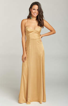 Show Me Your Mumu Godshaw Goddess Gown ~ True Gold Luxe Satin