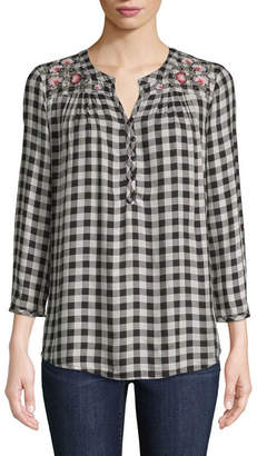 ST. JOHN'S BAY 3/4 Sleeve Embroidered Plaid Popover - Tall