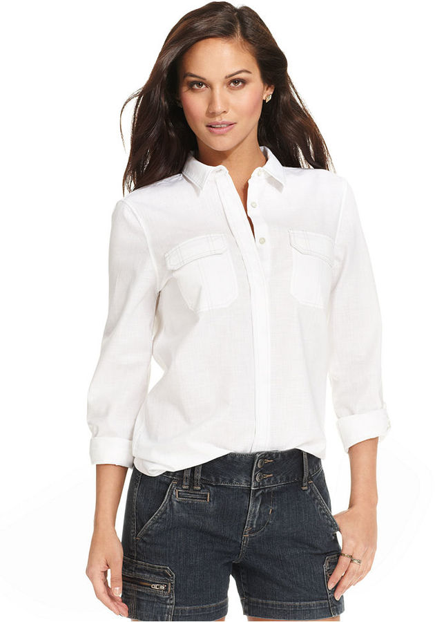 Calvin Klein Jeans Shirt, Three-Quarter-Sleeve Button-Front