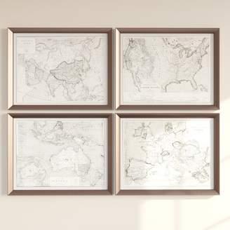 Three Posts 'World Maps' 4 Piece Framed Graphic Art Set