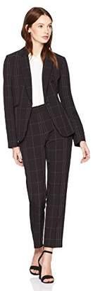 Tahari by Arthur S. Levine Women's Windowpane Plaid Long Sleeve Jacket Pant Suit