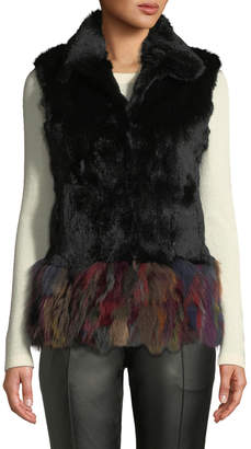 Adrienne Landau Multicolor Hem Rabbit & Fox Fur Vest, Black