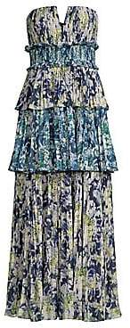 AMUR AMUR Women's Mel Abstract Print Strapless Midi Dress