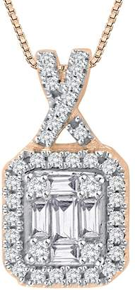 KATARINA Baguette and Round Cut Diamond Pendant with Chain in 14K Rose Gold (1/2 cttw) (-Color I1 Clarity)