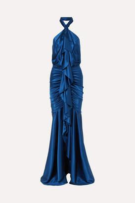 Alexandre Vauthier Open-back Ruffled Stretch Silk-satin Halterneck Gown - Royal blue