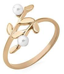 Majorica Women's Gold-Plated Sterling Silver & Faux Pearl Leaf Ring