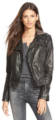 Women's Free People Hooded Faux Leather Moto Jacket $168 thestylecure.com