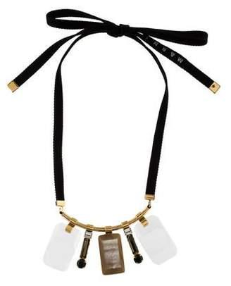 Marni Horn, Resin & Crystal Bib Necklace