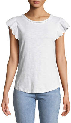Neiman Marcus Scoop-Neck Lace-Sleeve Tee