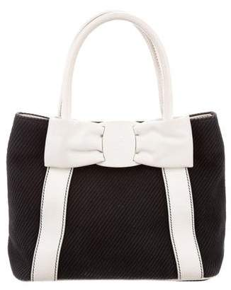 Salvatore Ferragamo Leather-Trimmed Vara Bow Handle Bag