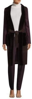 Piazza Sempione Leather-Trim Wool Coat