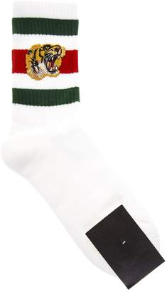 Gucci White Stretch Cotton Socks With Tiger Detail