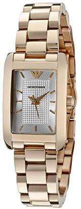 Giorgio Armani Women's Classic Silver Textured Dial Rose Gold Ion Plated Stainless Steel