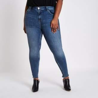 River Island Plus blue Amelie frayed super skinny jeans