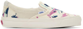 Vans White and Off-White Embroidered Palm Classic Slip-On Sneakers
