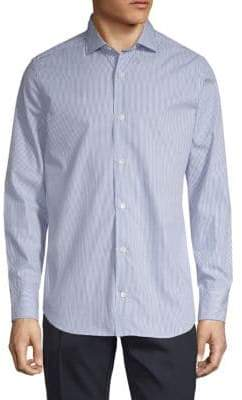 Eleventy Fine Striped Cotton Button-Down Shirt