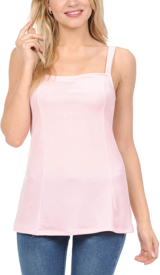 Light Pink Square Neck Tank - Women