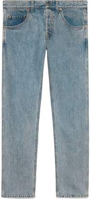 Gucci Denim tapered pant with panther