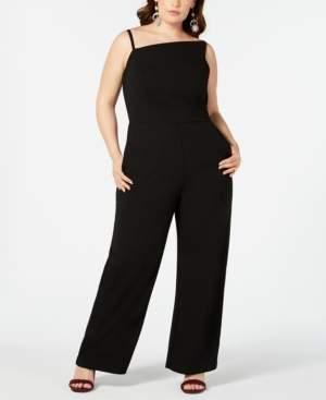 Teeze Me Trendy Plus Size Asymmetrical-Neckline Jumpsuit