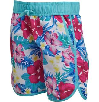 Board Angels Girls Printed Board Shorts Turquoise/Multi