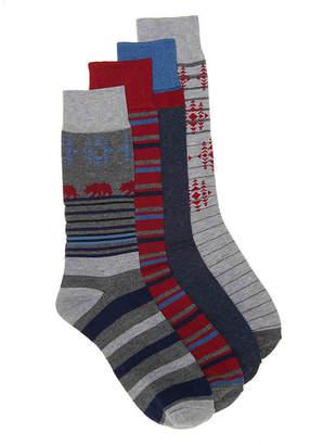 Lucky Brand Cali Bear Crew Socks - 4 Pack - Men's