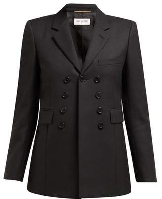 Saint Laurent Nine Button Single Breasted Cotton Blazer - Womens - Black