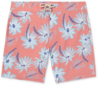 Faherty Beacon Slim-Fit Long-Length Printed Swim Shorts