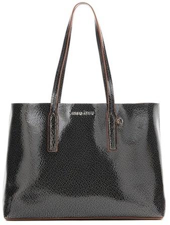 Miu MiuMiu Miu Glossed-leather shopper