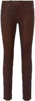 Rag & Bone Mid-Rise Burgundy Skinny Leather Pants