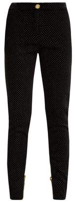 Balmain High Waisted Velvet Skinny Trousers - Womens - Black Multi