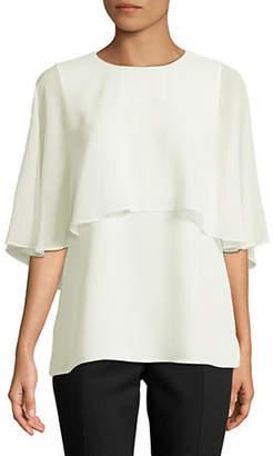 Calvin Klein Chiffon Overlay Short-Sleeve Top