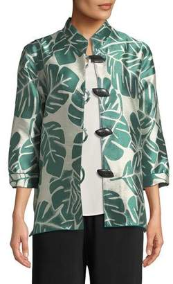 Caroline Rose Paradise Palm Jacquard Mandarin-Collar Jacket, Plus Size
