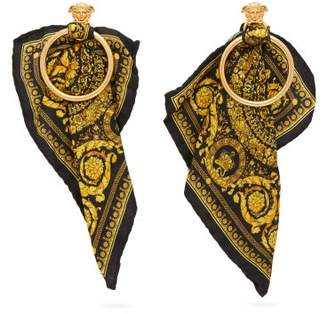 Versace Medusa Head & Baroque Print Silk Scarf Earrings - Womens - Gold