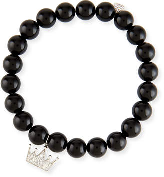 Sydney Evan Black Onyx & Diamond Crown Bracelet