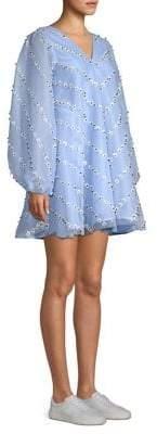 Ganni Rosenfeld Daisy Applique Mini Trapeze Dress