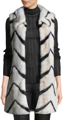 Love Token Chevron Faux-Fur Collared Long Vest