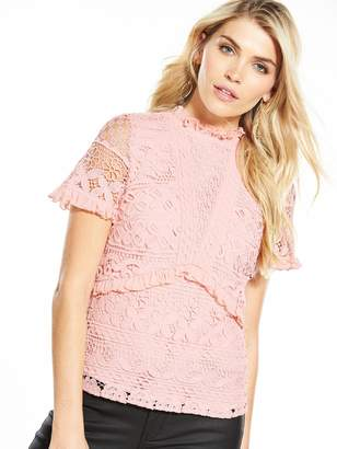 Very Premium Lace Frill Top - Pink