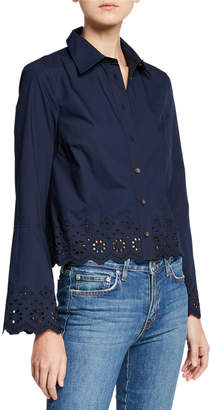 Derek Lam 10 Crosby Poplin Shirt with Embroidery Detail